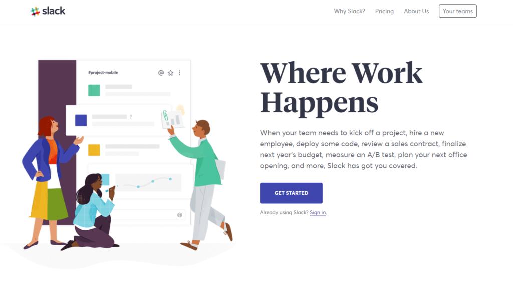 Homepage de Slack